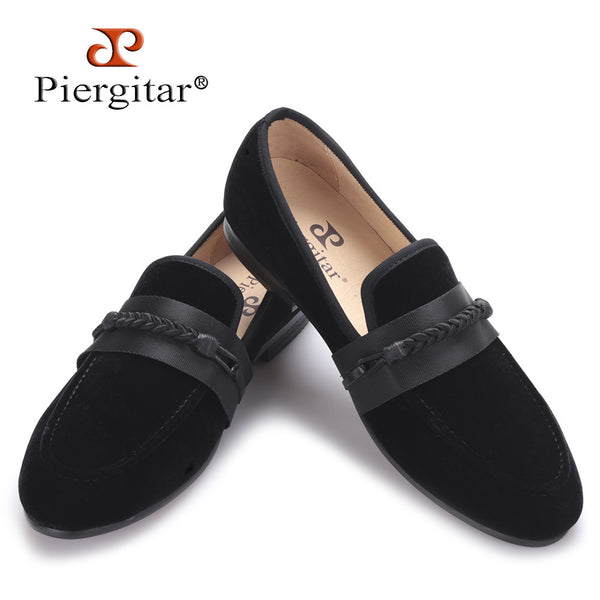 Piergitar 2017 new men velvet shoes with handmade weaving rope Party and wedding men dress shoes men slipper loafers male flats