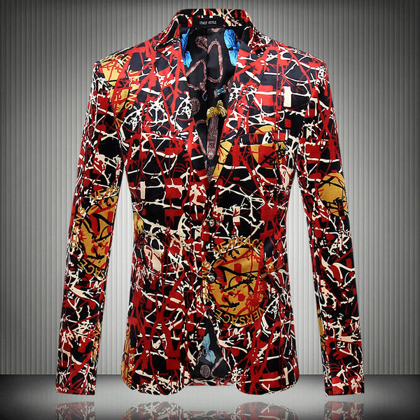 2016 new Flower blazer jacket male slim fashion  men's fashion personality flat flannelette print coat high quality prom groom
