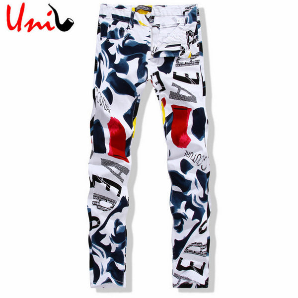 Big Size 28-44 White Printed Men Jeans Fashion Male Unique Cotton Jeans For Man Men's Casual Debris Printing Pants Hombre YN156
