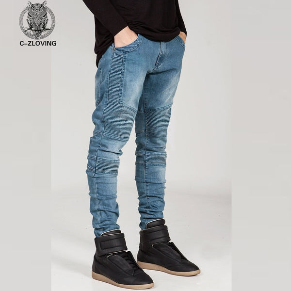Mens Skinny jeans men 2016 Runway Distressed slim elastic jeans denim Biker jeans hiphop pants Washed black jeans for men blue