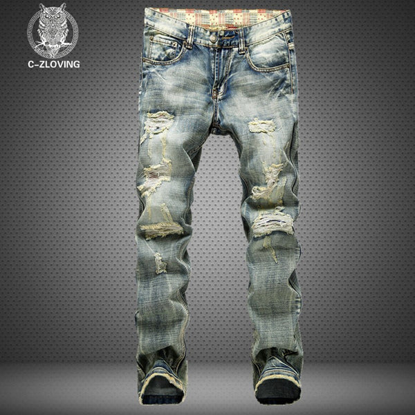 2016 men's new hole retro jeans worn denim trousers fashion men straight jeans  stitching multi hole and the wind wash jeans