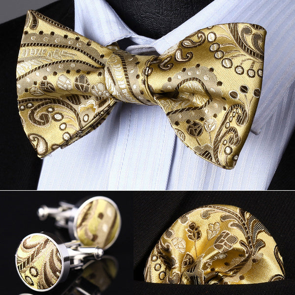 BZP11D Gold Brown Paisley Men Silk Self Bow Tie handkerchief Cufflinks set