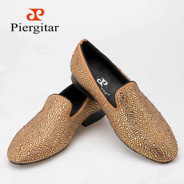 New Luxury brands full rhinestone handmade men loafers wedding and party men shoes European Style smoking slipper men's flats