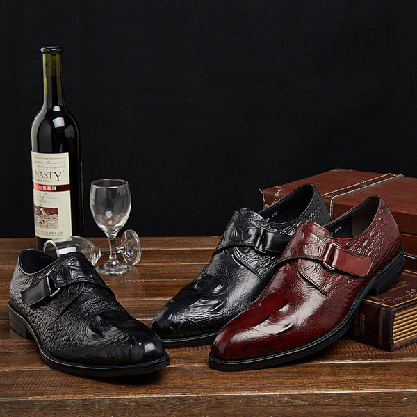 GRIMENTIN 2015 classic vintage unique style buckle strap crocodile pattern genuine leather shoes men casual flats size:6-10