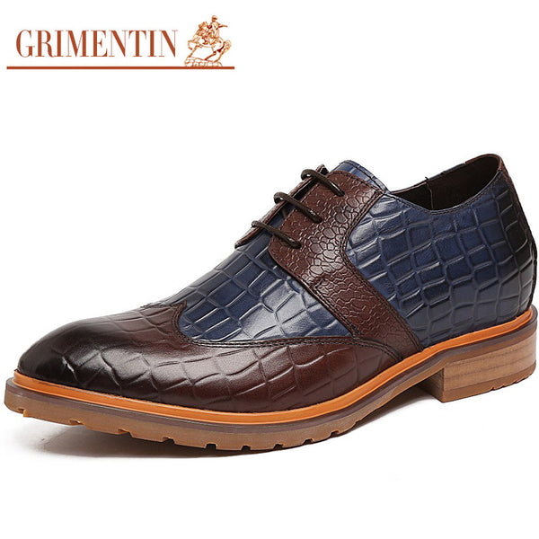 GRIMENTIN Fashion 8CM taller Height increasing mens shoes casual Oxfords genuine leather flats shoes men for business party