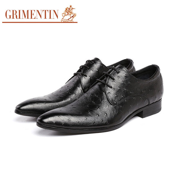 GRIMENTIN fashion mens casual shoes genuine leather black brown basic flats classic designer shoes for men high quality