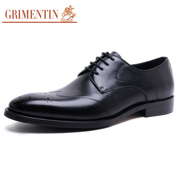 GRIMENTIN fashion men shoes luxury brand genuine leather mens dress shoes pointed toe carved designer wedding basic flats z656
