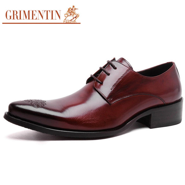 GRIMENTIN fashion top grade mens dress shoes luxury brand genuine leather lace up pointed toe men shoe for wedding flats z667