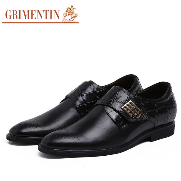 2015 8cm taller Height increasing loafer mens dress shoes genuine leather black brown flats for men wedding dress business # 947