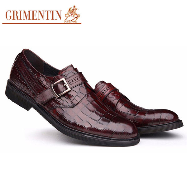 GRIMENTIN fashion genuine leather mens shoes casual black brown crocodile designer business shoes men footwear flats for male