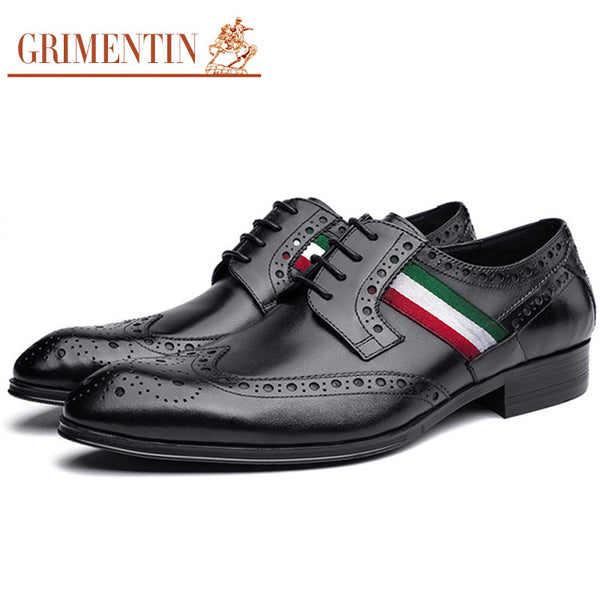GRIMENTIN Fashion Italian luxury mens shoes casual oxfords genuine leather black brown designer wingtip shoes men luxury office
