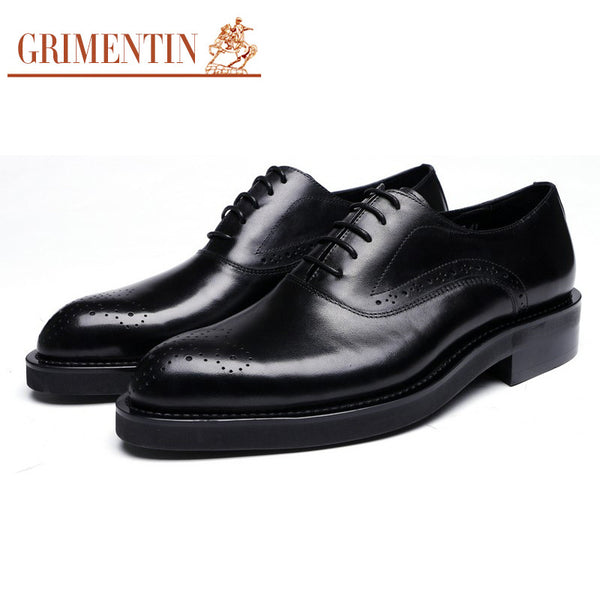 GRIMENTIN Fashion Italy oxford men shoes genuine leather black cap toe designer male shoes for men flats business office wedding