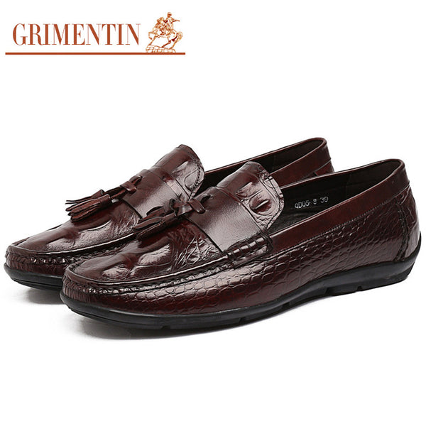 2015 italy luxury crocodile tessal fashion loafers Mens casual shoes genuine leather black brown flats for men office size 6-10