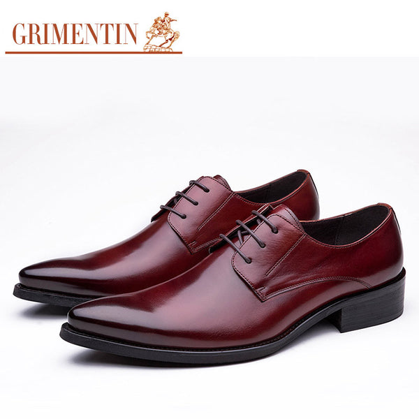 2016 Italy luxury mens pointed toe dress shoes genuine leather black brown red formal male shoes for men flats business wedding