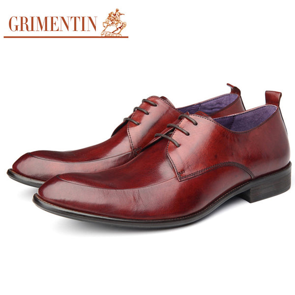 GRIMENTIN Fashion classic genuine leather men shoes casual black brown designer wedding dress male shoes for men flats summer