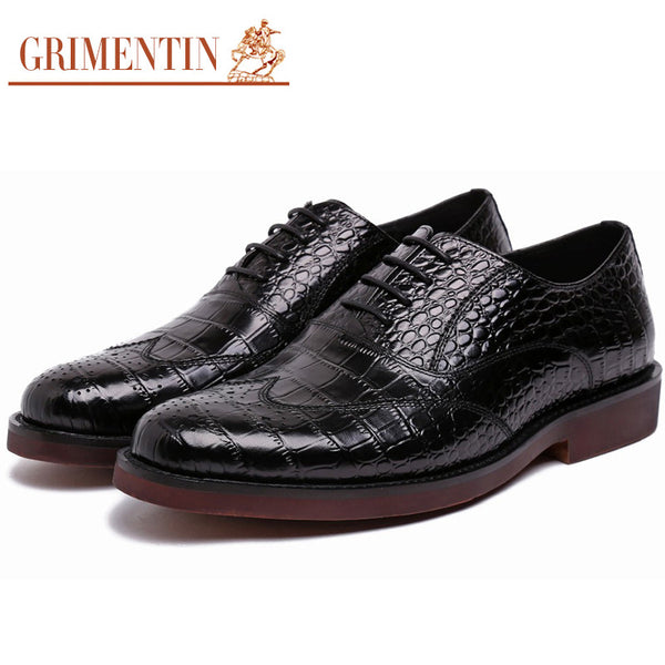 2015 British vintage crocodile fashion oxfords mens dress shoes genuine leather black flats for men business wedding #950