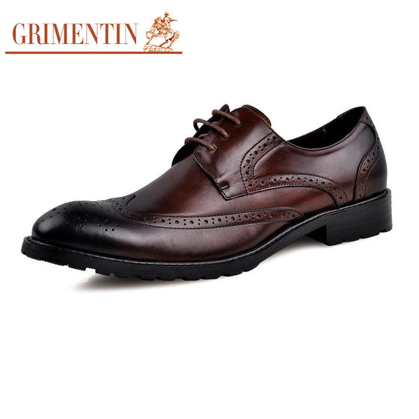 GRIMENTIN fashion vintage oxfords men casual shoes genuine leather carved black flats for men business size:6-10  z306
