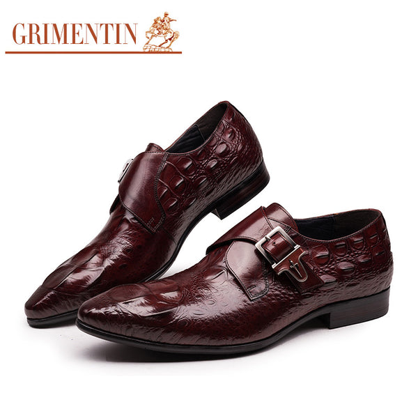 GRIMENTIN fashion Italian mens dress shoes with buckle black brown designer crocodile male shoes men flats wedding business offi