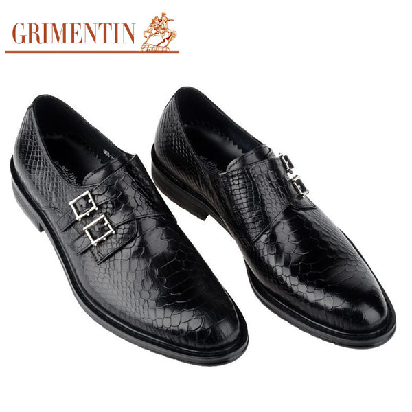 GRIMENTIN fashion brand designer oxford shoes for men genuine leather luxury crocodile man shoe basic flats for business