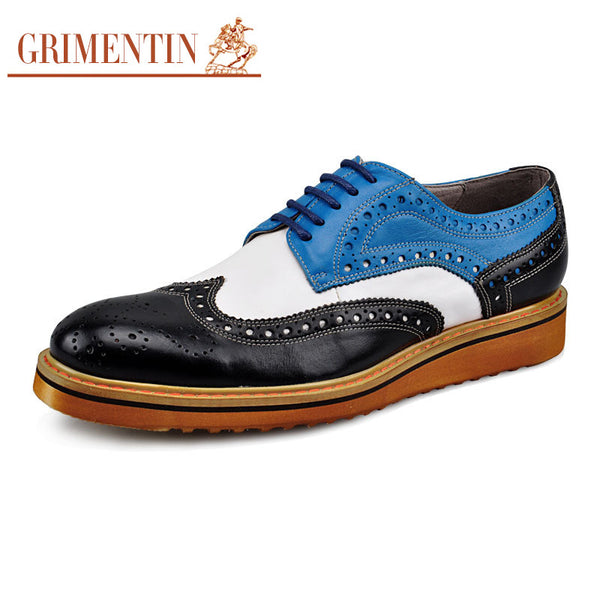 GRIMENTIN fashion smart classic vintage oxfrod mens casual shoes genuine leather colorful basic flats for men partry z303