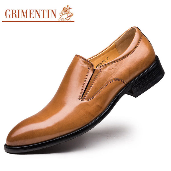 2016 Italian luxury mens leather loafers pointed toe black brown brand designer formal men dress shoes flats for business z686