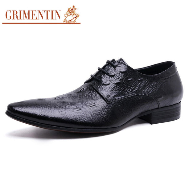GRIMENTIN fashion classic crocodile Italian summer men casual shoes leather black brown luxury wedding business shoes men flats