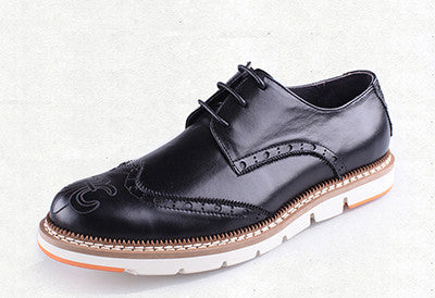 GRIMENTIN 2015 British style classic vintage fashion wingtip genuine leather  men shoes casual flats size:6-10