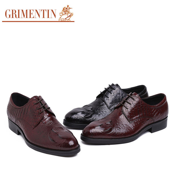 2016 Italian fashion trend crocodile mens shoes sales genuine leather black brown designer men dress shoes casual basic flats