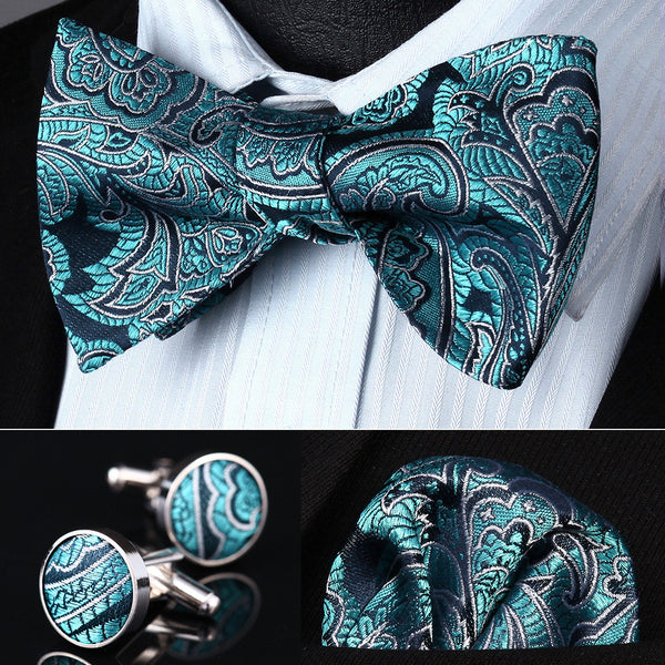 BZP13Q Aqua Paisley Men Silk Self Bow Tie handkerchief Cufflinks set Pocket Square Classic Party Wedding