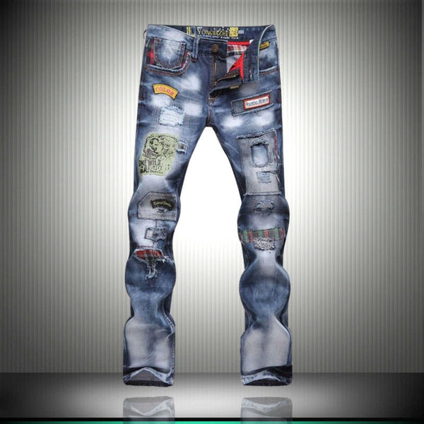 2016 new popular style hole patch patch beggars Slim jeans pants men men's large size men's fashion trousers 8037