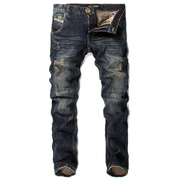 High Quality Dsel Brand Men Jeans Fashion Designer Distressed Ripped Jeans Men Straight Fit Jeans Homme,100% Cotton,Size 29-40