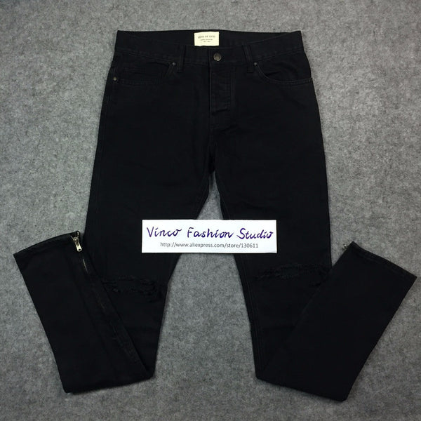 Best version 2016 Fear of God FOG zippers skinny slim fit mens Distressed justin bieber black cotton Denim jeans