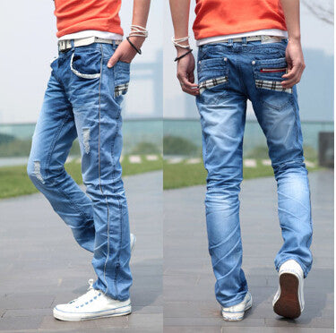 High quality 2016 New Listing Four Seasons Fashion Slim Pocket Grid Design Casual Jeans Boutique Jeans Size 28-36