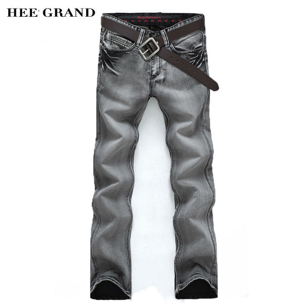2016 New Arrival Fashion Men's Jeans Slim Water-washed Straight Pants Light Gray Wholesale MKN119