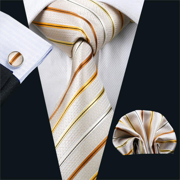 FA-239 Mens Ties Beige Stripe Silk Tie Hanky Cufflinks Set Necktie Business Wedding Party Ties For Men Free Shipping