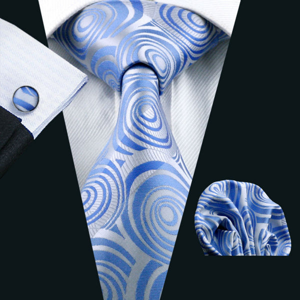 2016 New Arrive Men Tie Blue Novelty 100% Silk Tie Hanky Cufflinks Set For Men Formal Wedding Party Groom Free Shipping  LS-1127