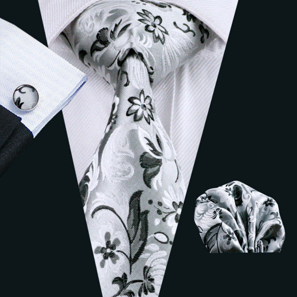 Classic Men`s Tie Gray Floral Jacquard Woven 100% Silk Tie Hanky Cufflinks Set For Wedding Business Party Free Postage LS-1159