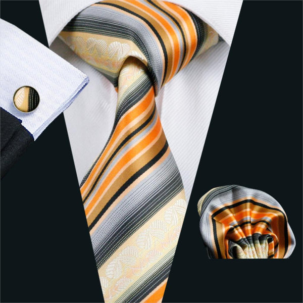 FA-992 Barry.Wang Mens Ties Orange Stripe Silk Jacquard Tie Hanky Cufflinks Set Men's Business Gift Ties For Men Free Shipping