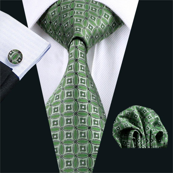 FA-1051 Gents Necktie Green Novelty Barry.Wang Silk Jacquard Tie Hanky Cufflinks Set Business Gift Ties For Men Free Shipping
