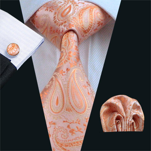 FA-586 Gents Necktie Orange Paisley 100% Silk Jacquard Tie Hanky Cufflinks Set Business Wedding Party Ties For Men Free Shipping