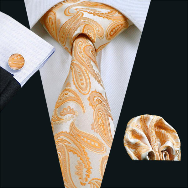 FA-1067 Gents Necktie Orange Paisley Barry.Wang Silk Jacquard Tie Hanky Cufflink Set Business Wedding Ties For Men Free Shipping