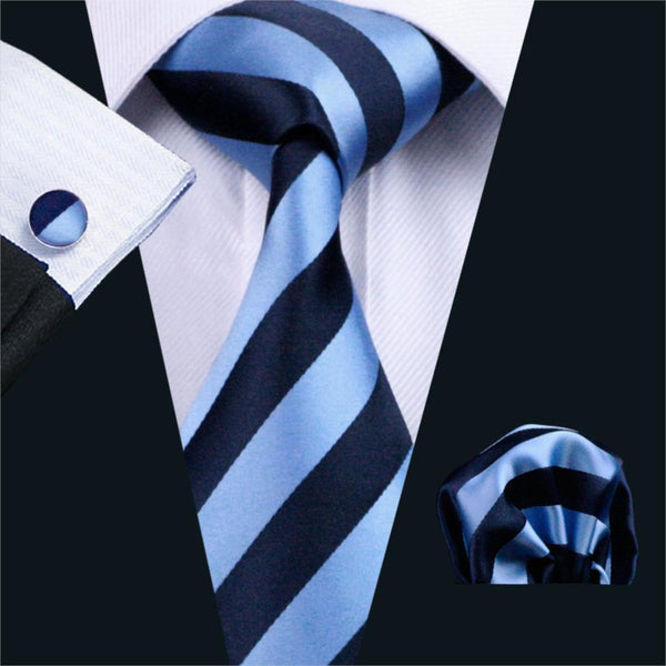 FA-285 Gents Necktie Blue Stripe 100% Silk Jacquard Tie Hanky Cufflinks Set Business Wedding Party Ties For Men Free Shipping