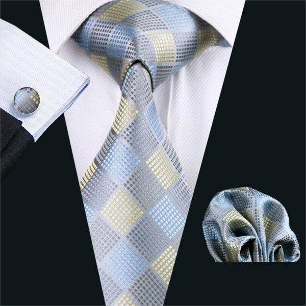 FA-1025 Gents Necktie Gray Plaid Barry.Wang Silk Jacquard Tie Hanky Cufflinks Set Men's Business Gift Ties For Men Free Shipping