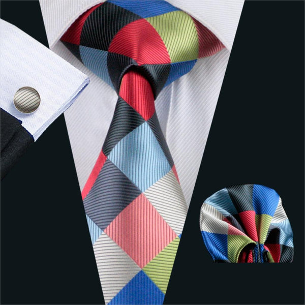FA-1064 Gents Necktie gray Plaid Barry.Wang Silk Jacquard Tie Hanky Cufflinks Set Men's Business Gift Ties For Men Free Shipping