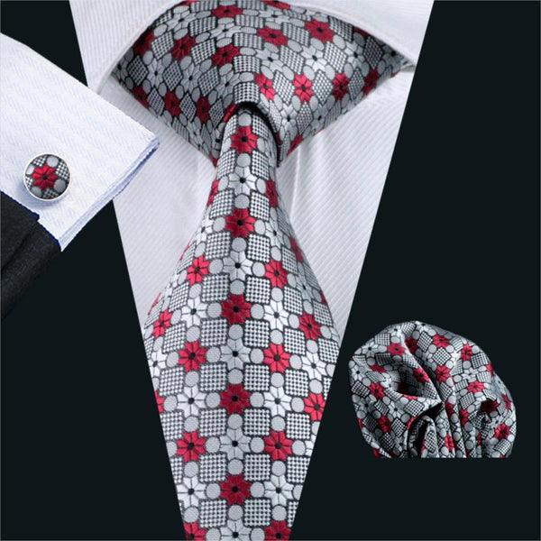 FA-1019 Barry.Wang Mens Ties Gray Novelty Silk Jacquard Tie Hanky Cufflinks Set Men's Business Gift Ties For Men Free Shipping