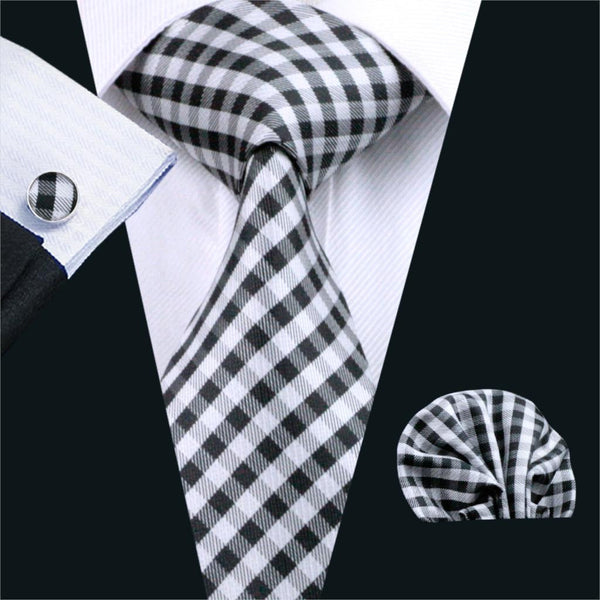 FA-1024 Barry.Wang Mens Ties Black Plaid Silk Jacquard Tie Hanky Cufflinks Set Men's Business Gift Ties For Men Free Shipping