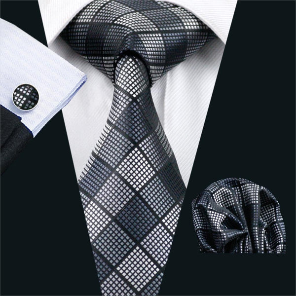 FA-1017 Barry.Wang Mens Ties Black Plaid Silk Jacquard Tie Hanky Cufflinks Set Men's Business Gift Ties For Men Free Shipping
