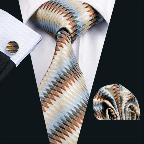 FA-1008 Barry.Wang Mens Ties Blue Novelty Silk Jacquard Tie Hanky Cufflinks Set Men's Business Gift Ties For Men Free Shipping