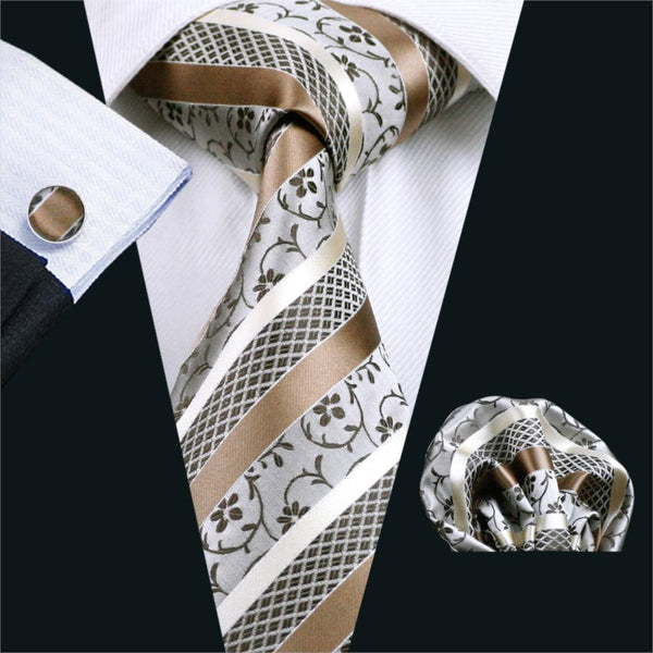 FA-905 Mens Ties Brown Stripe Tie Hanky Cufflink Set Men's Business Gift Ties For Men Free Shipping