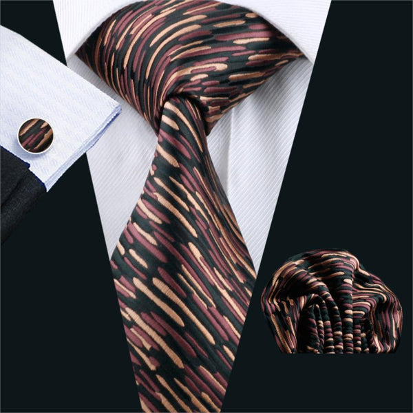 2016 Men`s Tie Novelty Silk Jacquard Woven Necktie Handkerchief Cufflinks Set For Business Wedding Party Free Shipping FA-1042